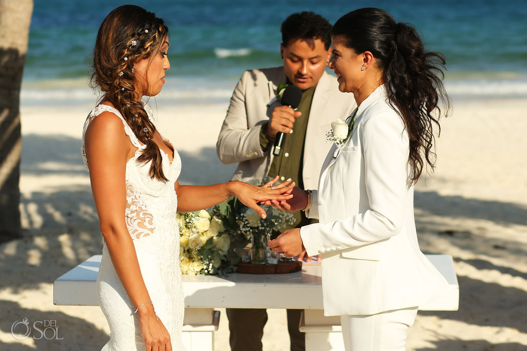 Funny wedding ring ceremony moment Mexico Same Sex Wedding Secrets Maroma Beach Riviera Cancun
