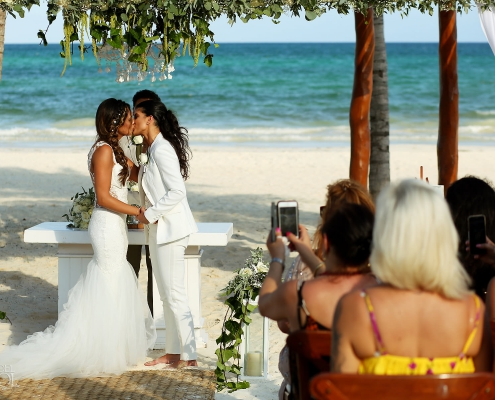 Same Sex Wedding Ceremony First Kiss Secrets Maroma Beach