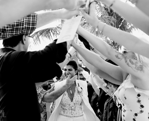 Black and white celebrating moment Mexico Same Sex Wedding Secrets Maroma Beach Riviera Cancun