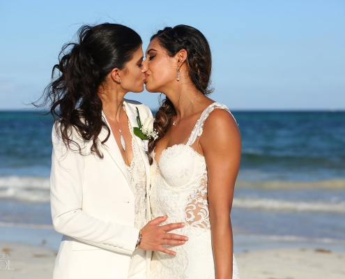 Same sex bride bride kiss gay destination wedding