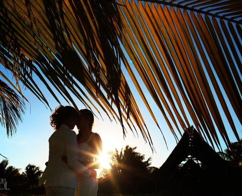 Lesbian couple sunset portraits Mexico Same Sex Wedding Secrets Maroma Beach Riviera Cancun