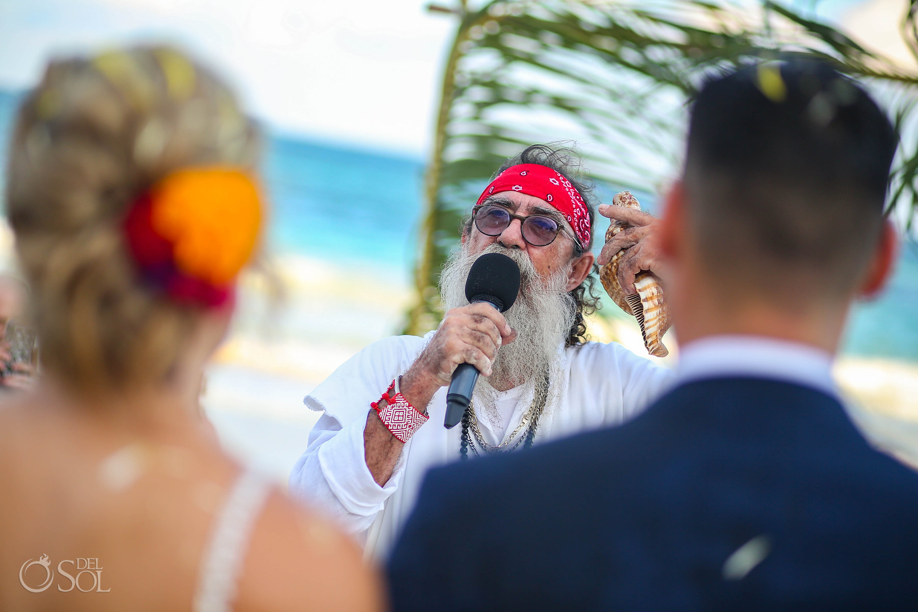 Mexican Shaman performing spiritual Mayan wedding Akiin Tulum