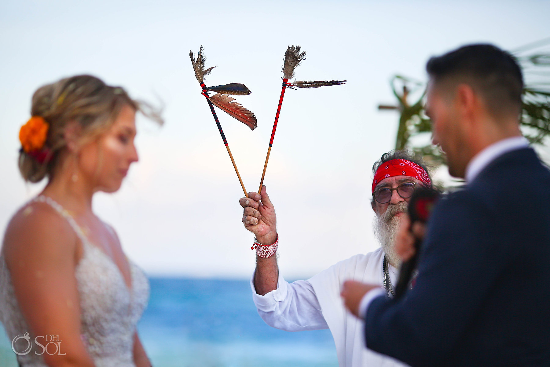 Shaman performing Spiritual Wedding Akiin Tulum Mexico