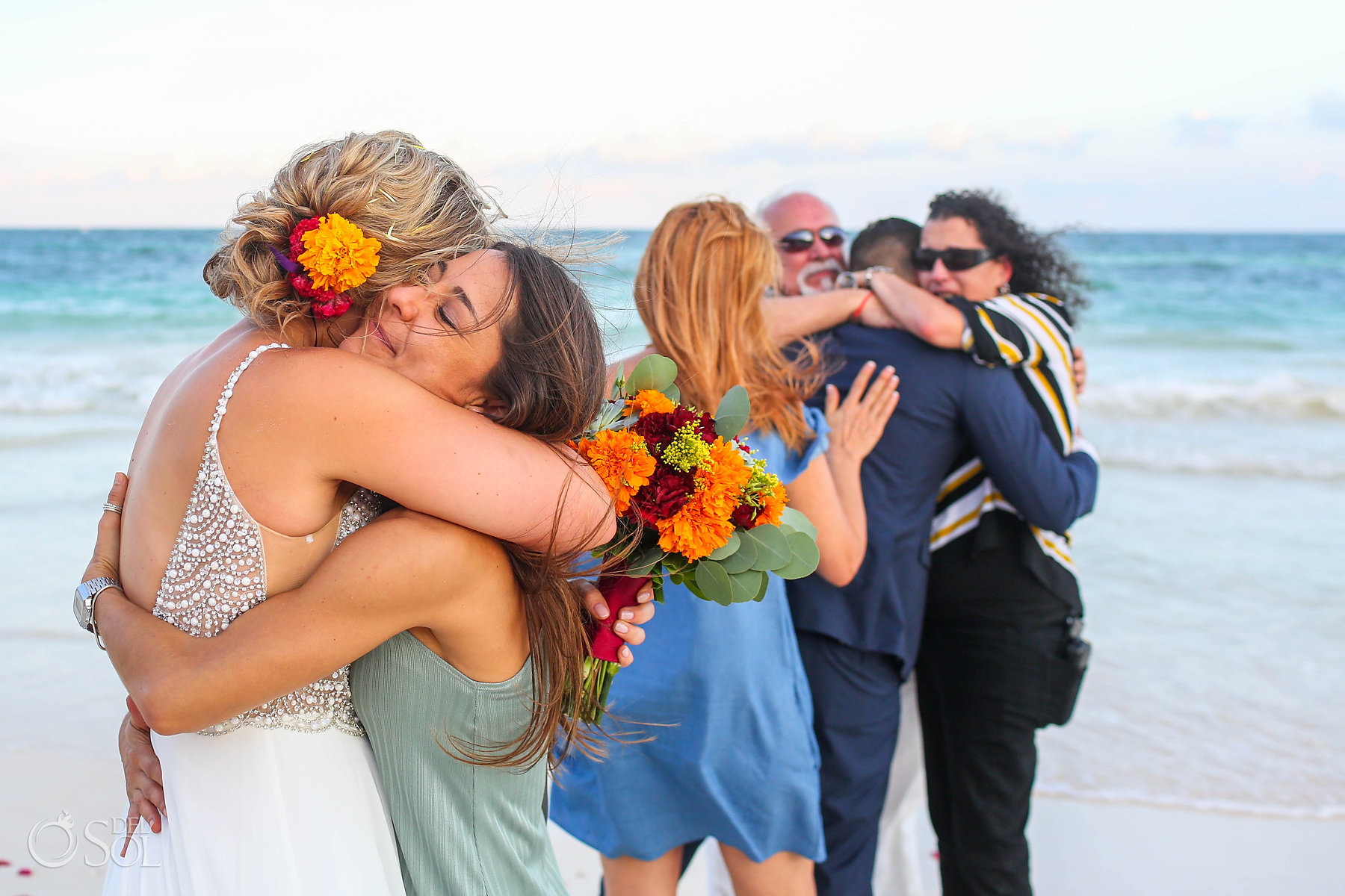 Candid wedding photography Tulum Boutique hotel hugs