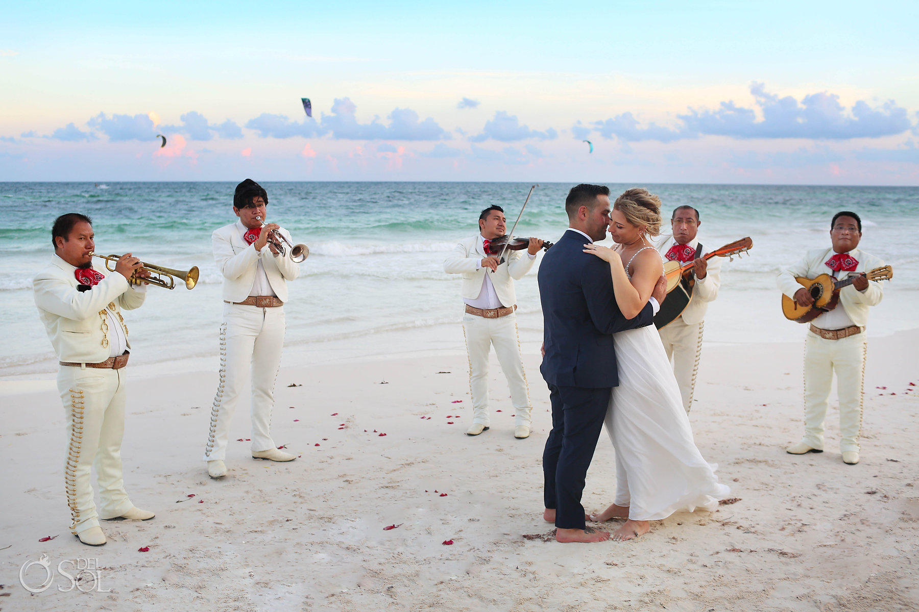 just married couple dancing with Mariachi Akiin Beach Club Tulum