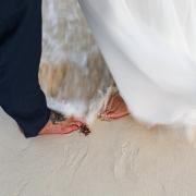 #travelforlove Akiin Tulum Wedding Photography heart in waves between couples feet