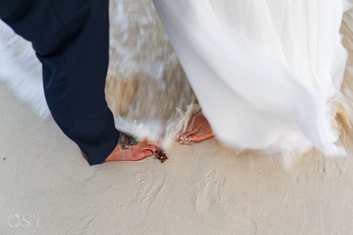 #travelforlove Akiin Tulum Wedding Photography heart in waves between couples feet