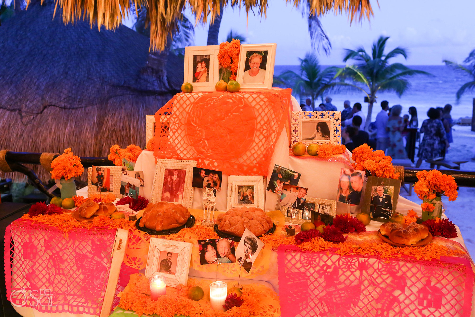 Day of the dead altar Mexico wedding reception tribute ideas
