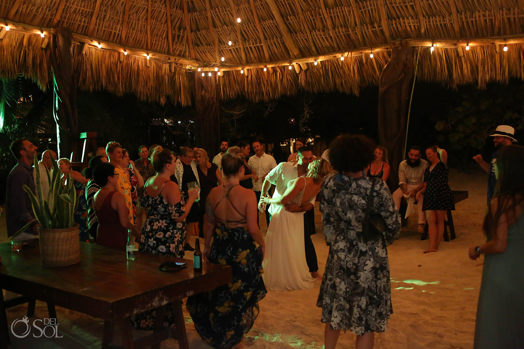 Akin Tulum Wedding reception party outside palapa