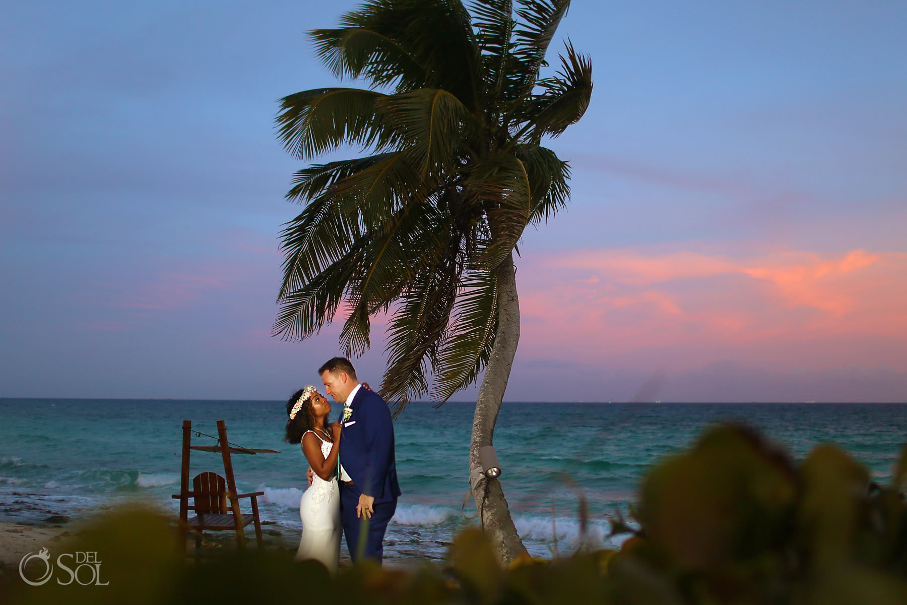 Sunset wedding portrait Hotel Xcaret Mexico beach Riviera Maya mexico