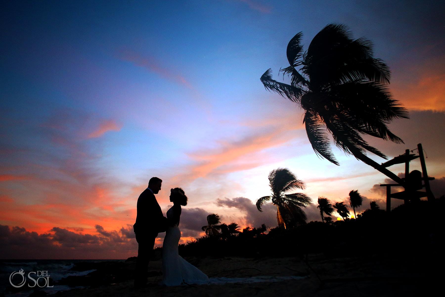 Playa Palmas Sunset portrait silhouette Hotel Xcaret Caleta Wedding Riviera Maya