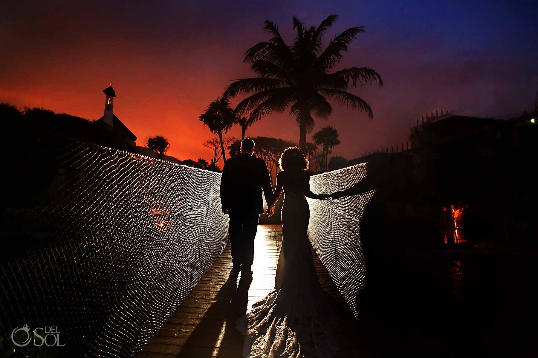 best wedding portrait locations suspension bridges hotel Xcaret Mexico