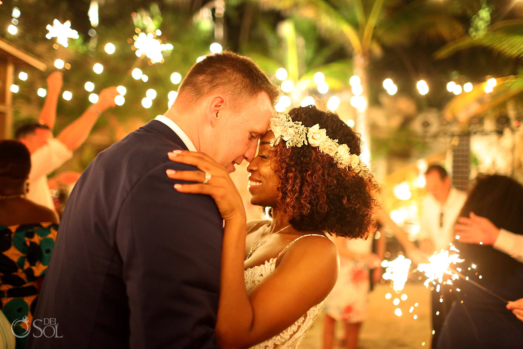 first dance with sparklers Hotel Xcaret Caleta Fuego Wedding reception