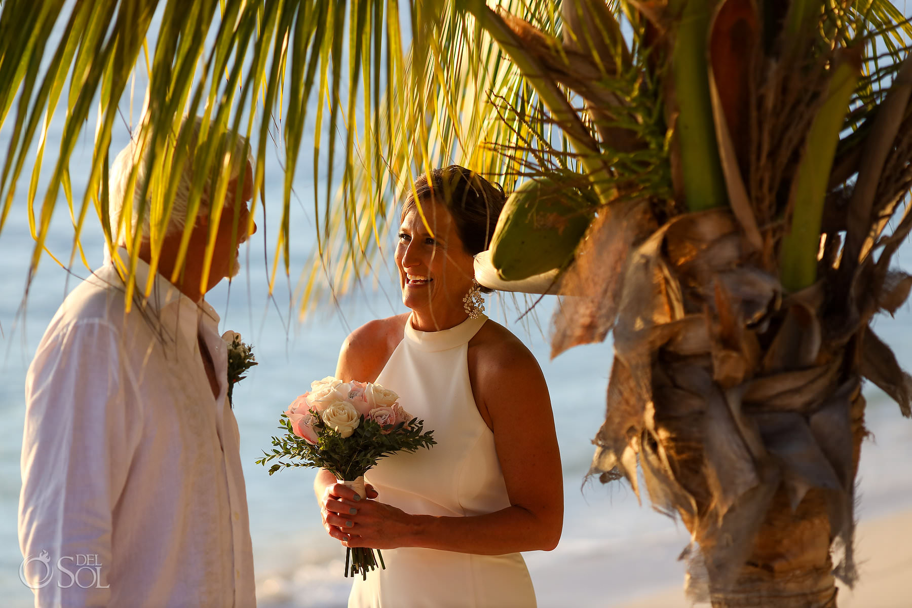 bride groom first look Isla Mujeres wedding