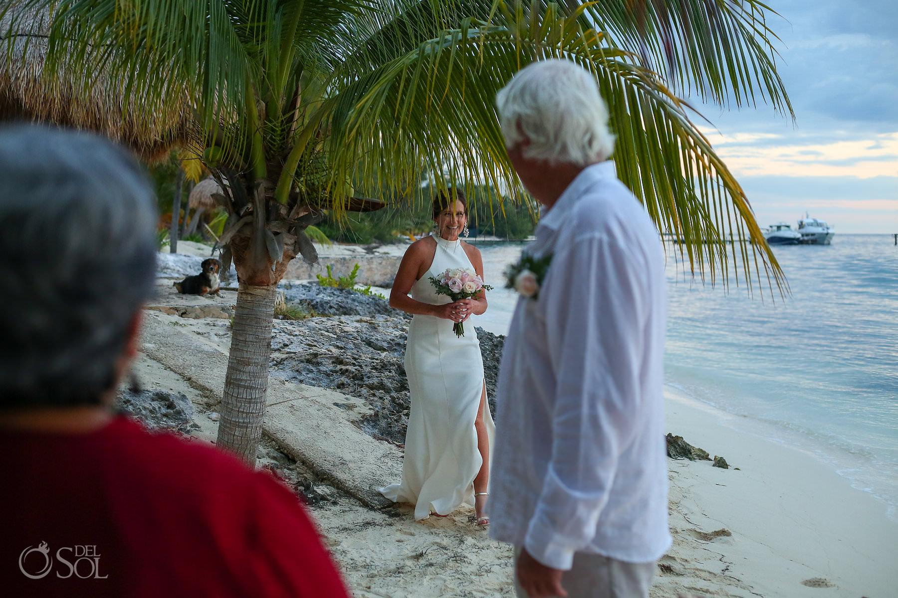 bride entrance Villa Makax Isla Mujeres Elopement