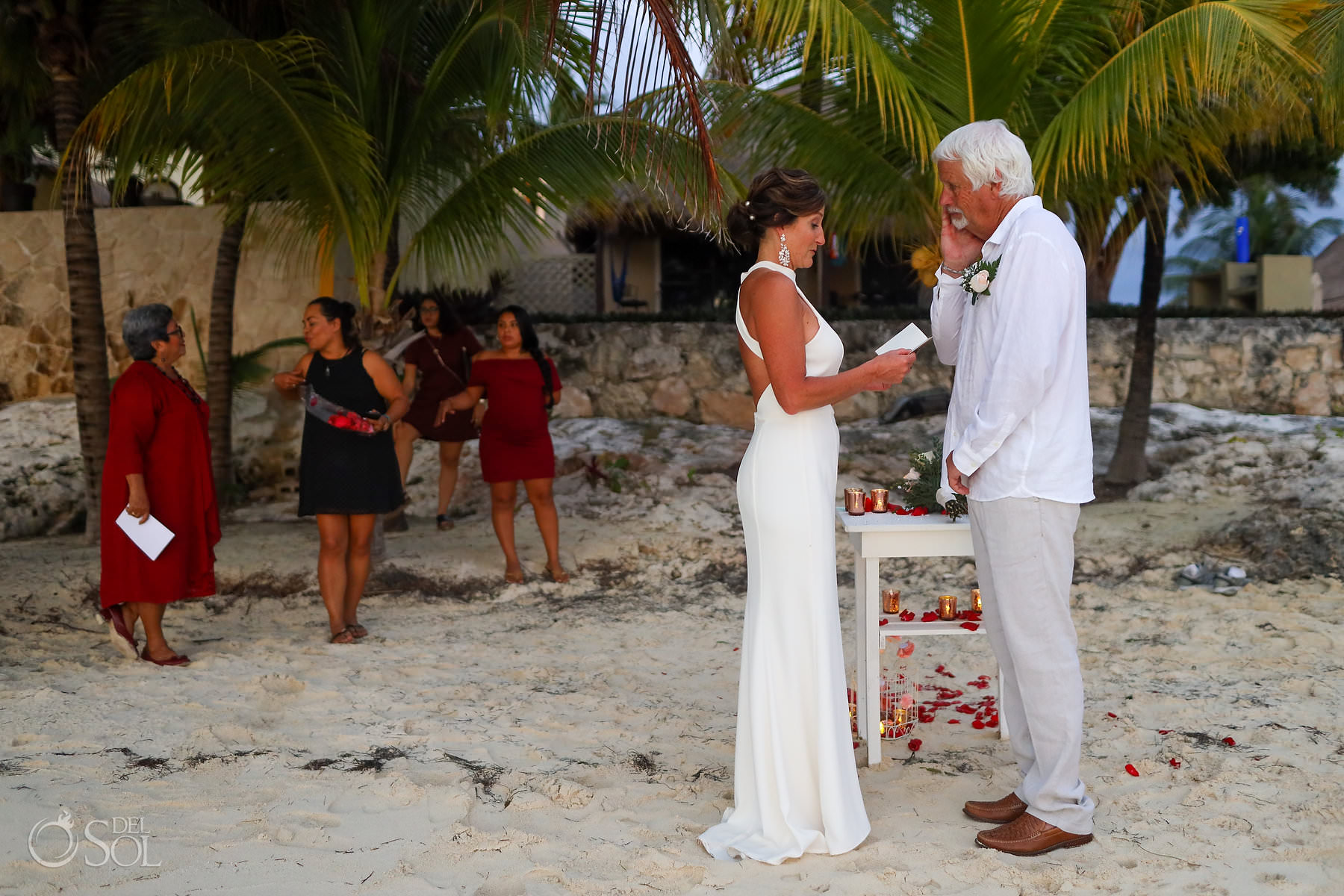 groom cries ad bride reads vows, Isla Mujeres beach wedding