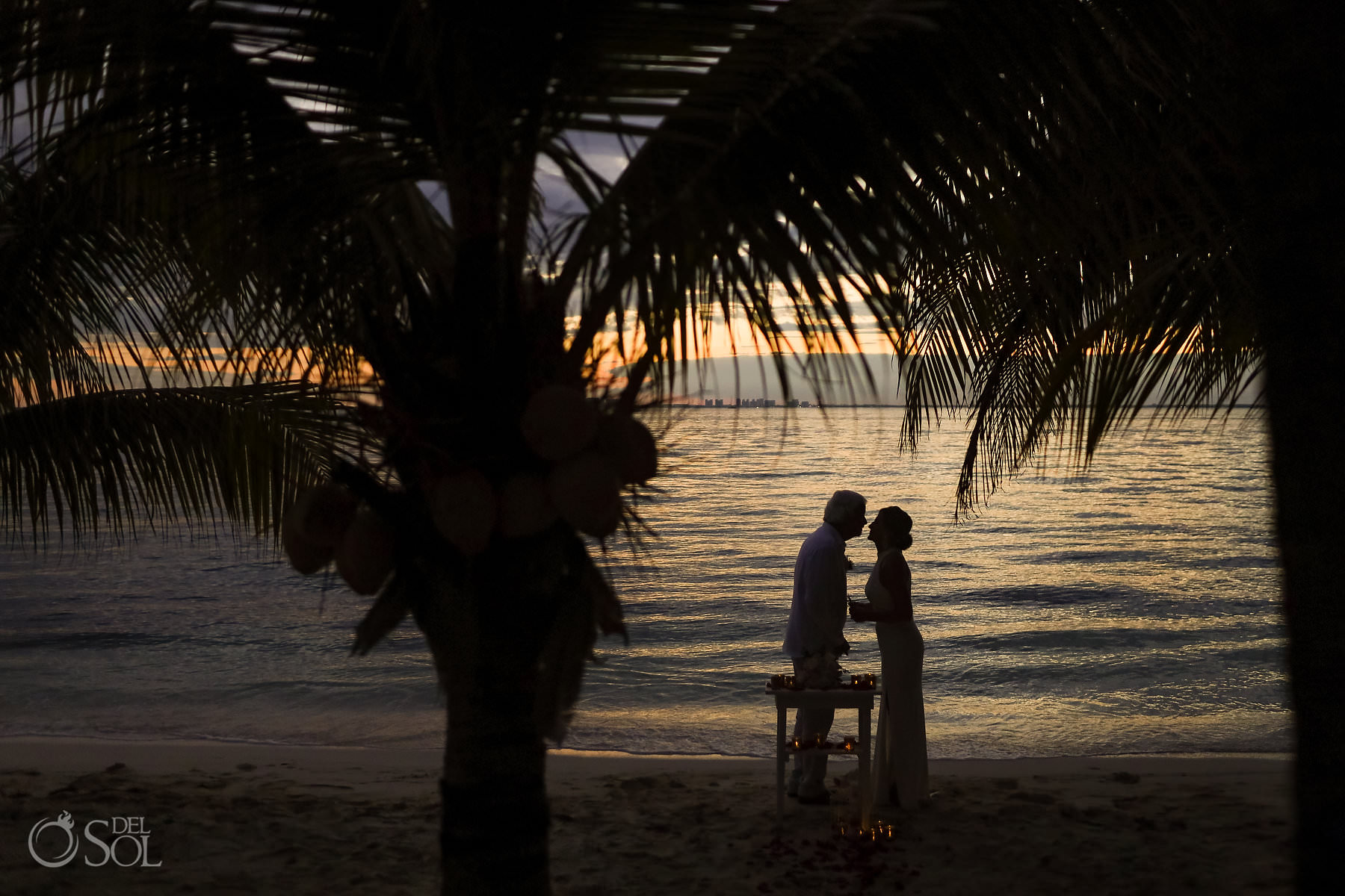 sunset Isla Mujeres beach Elopement