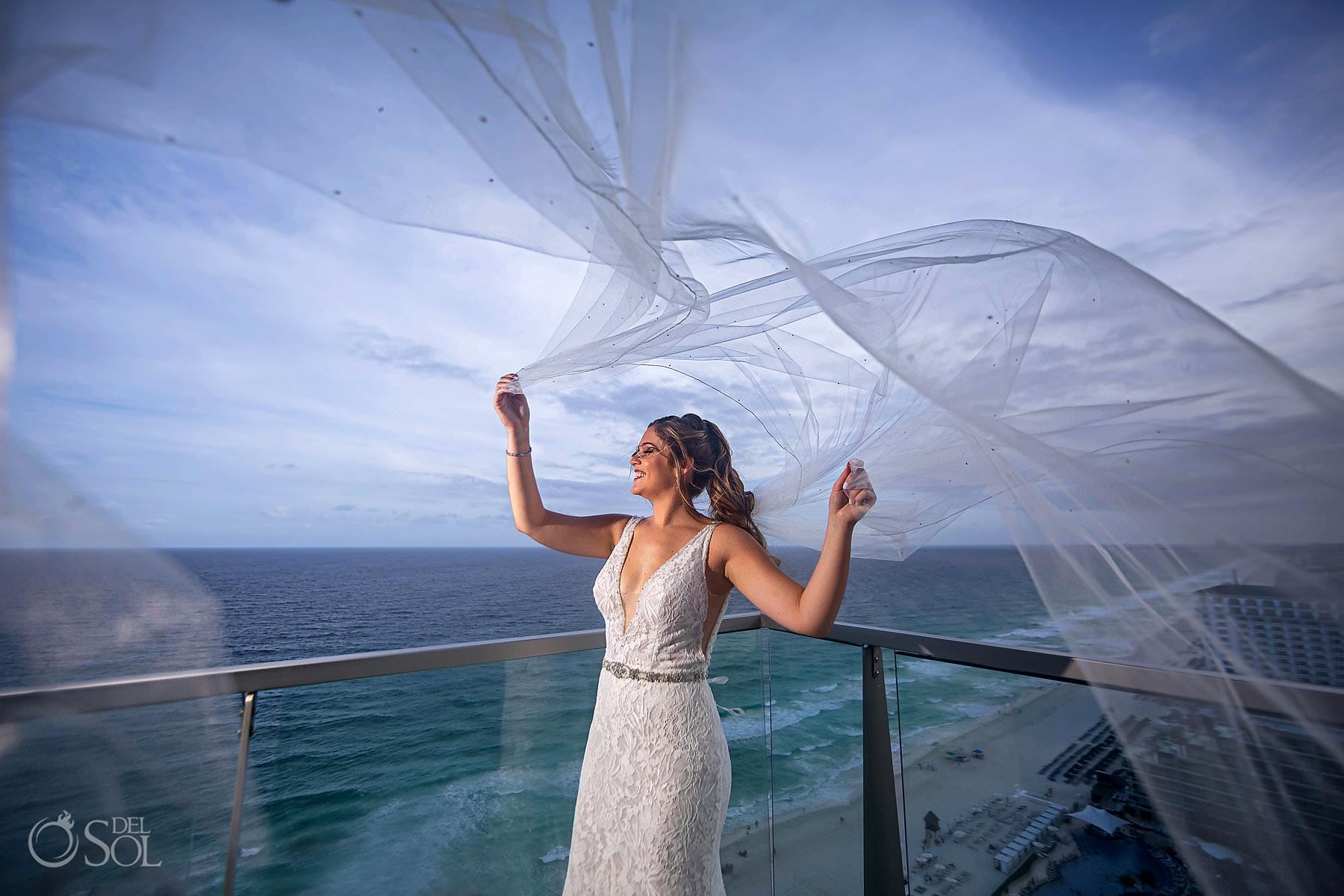 long bridal veil bride portrait Secrets the Vine wedding photography
