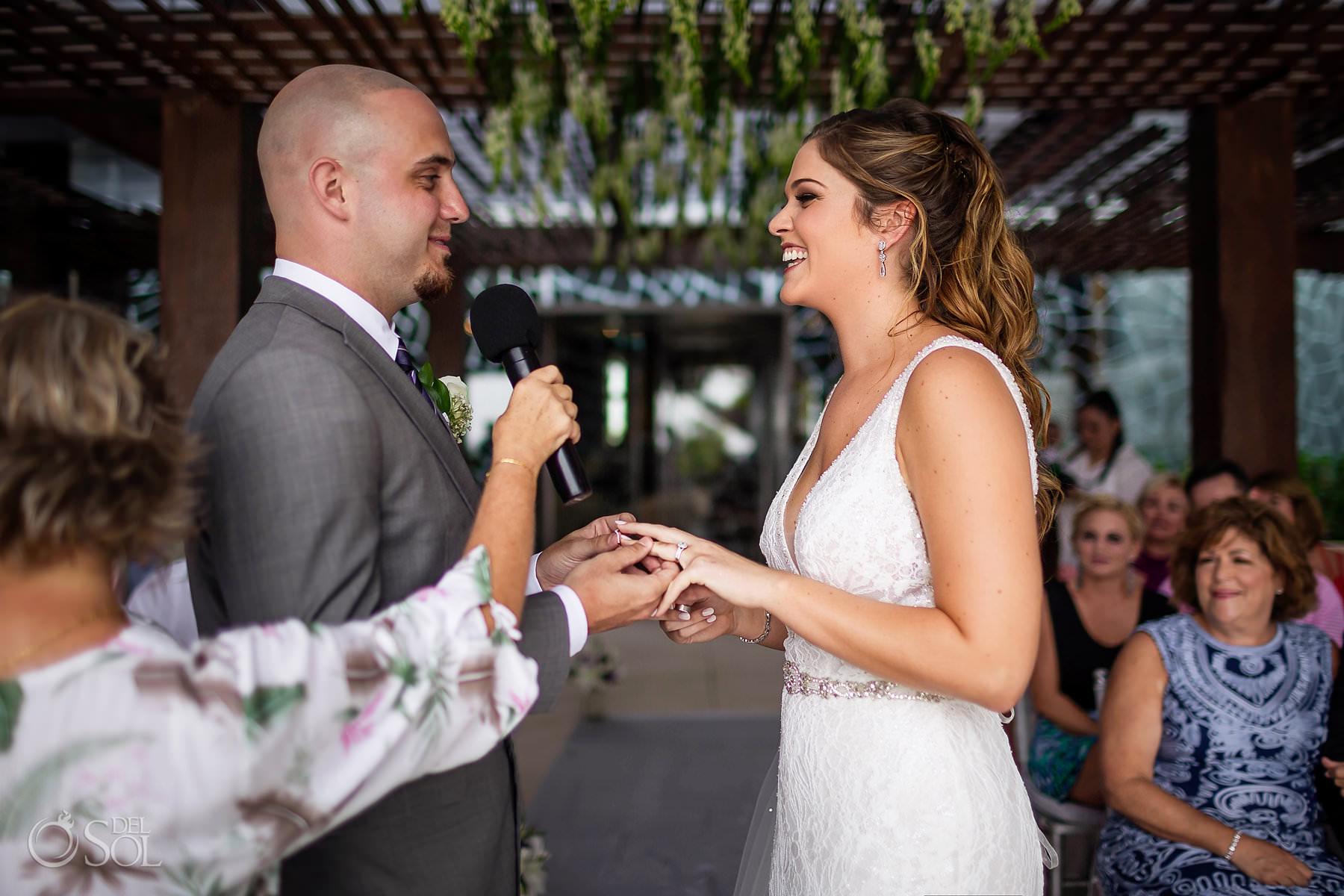 Ring exchange Secrets the Vine terrace wedding ceremony