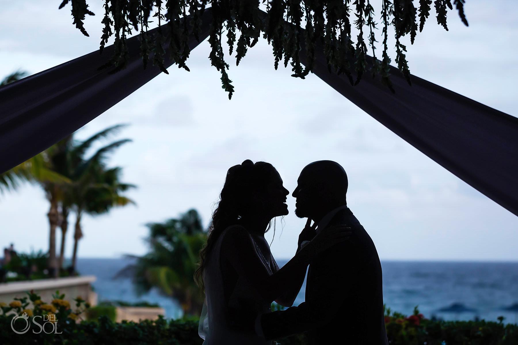Secrets the Vine Terrace first kiss silhouette ocean view