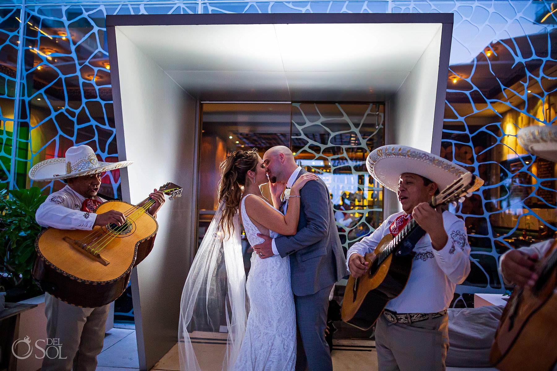 creative wedding portrait Mariachi cocktail hour Secrets the Vine Cancun