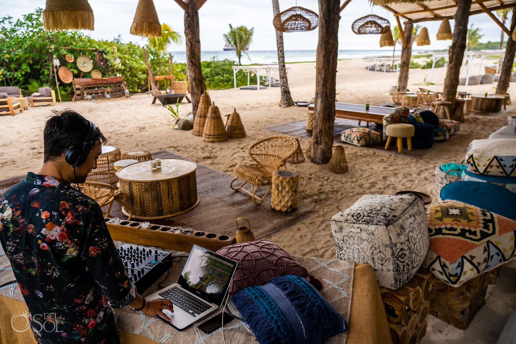 Boho chic beach bar Palmaia House of Aia Playa del Carmen Mexico