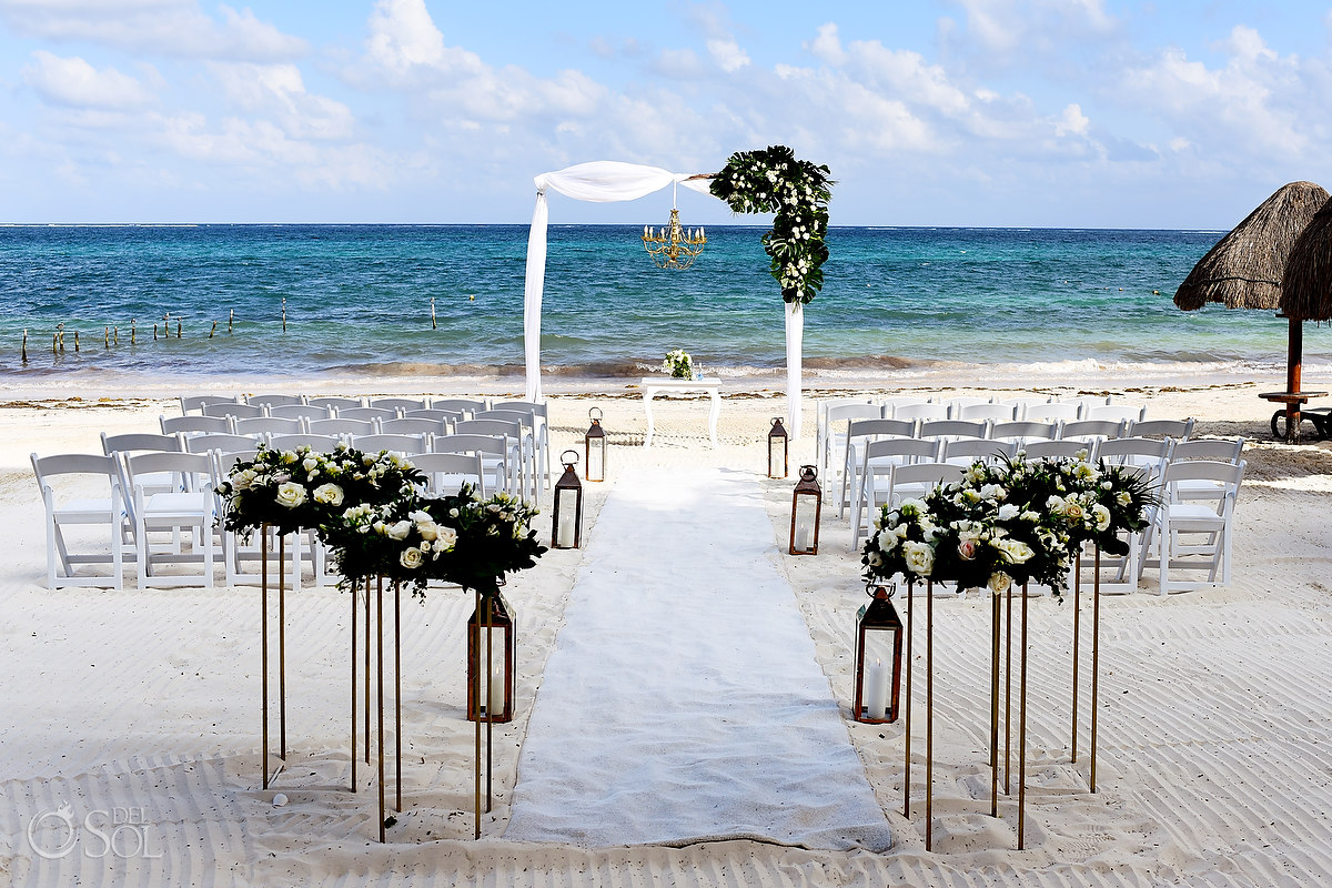 Dreams Riviera Cancun Beach Wedding contemporary setup white flwers