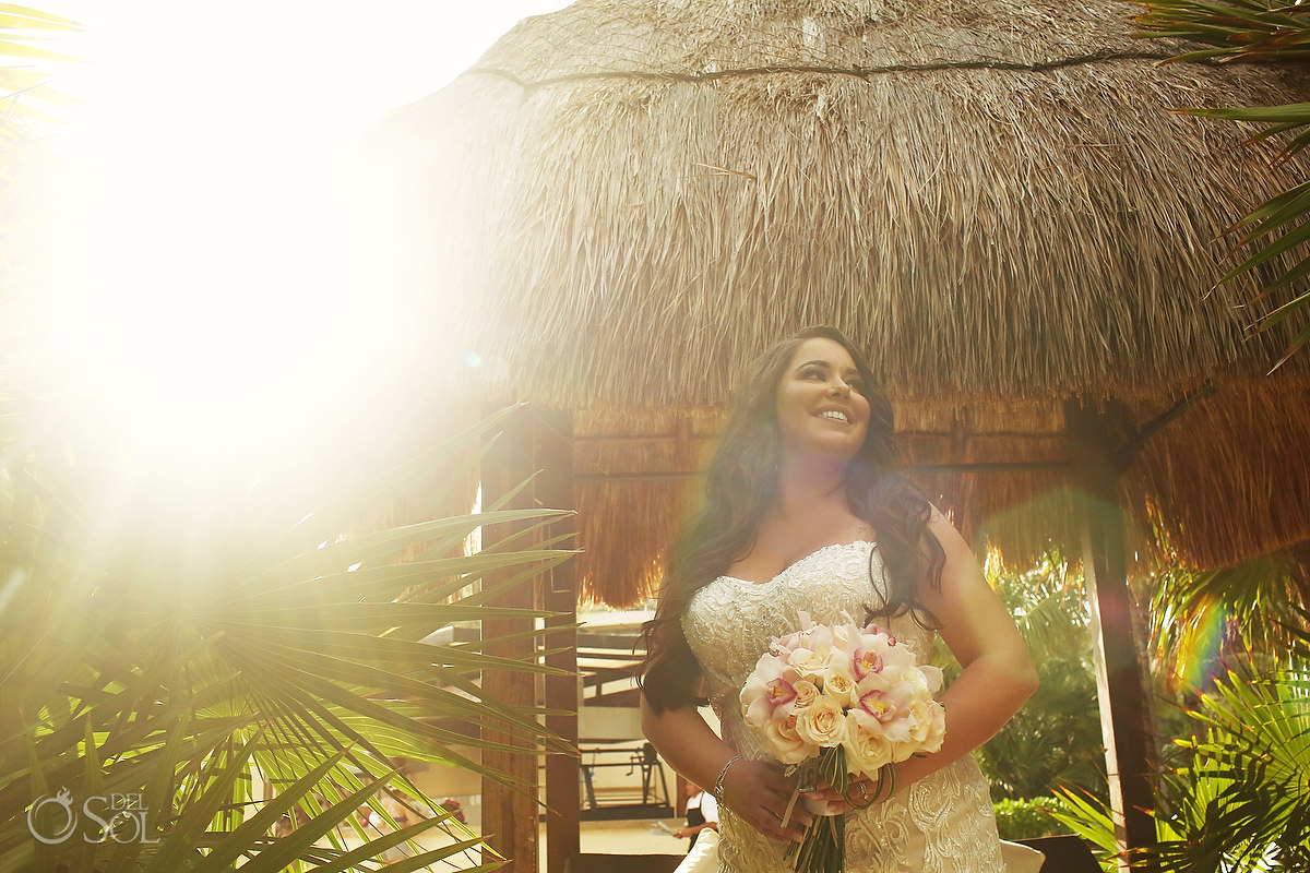 bridal portrait Dreams Riviera Cancun Garden flare golden hour
