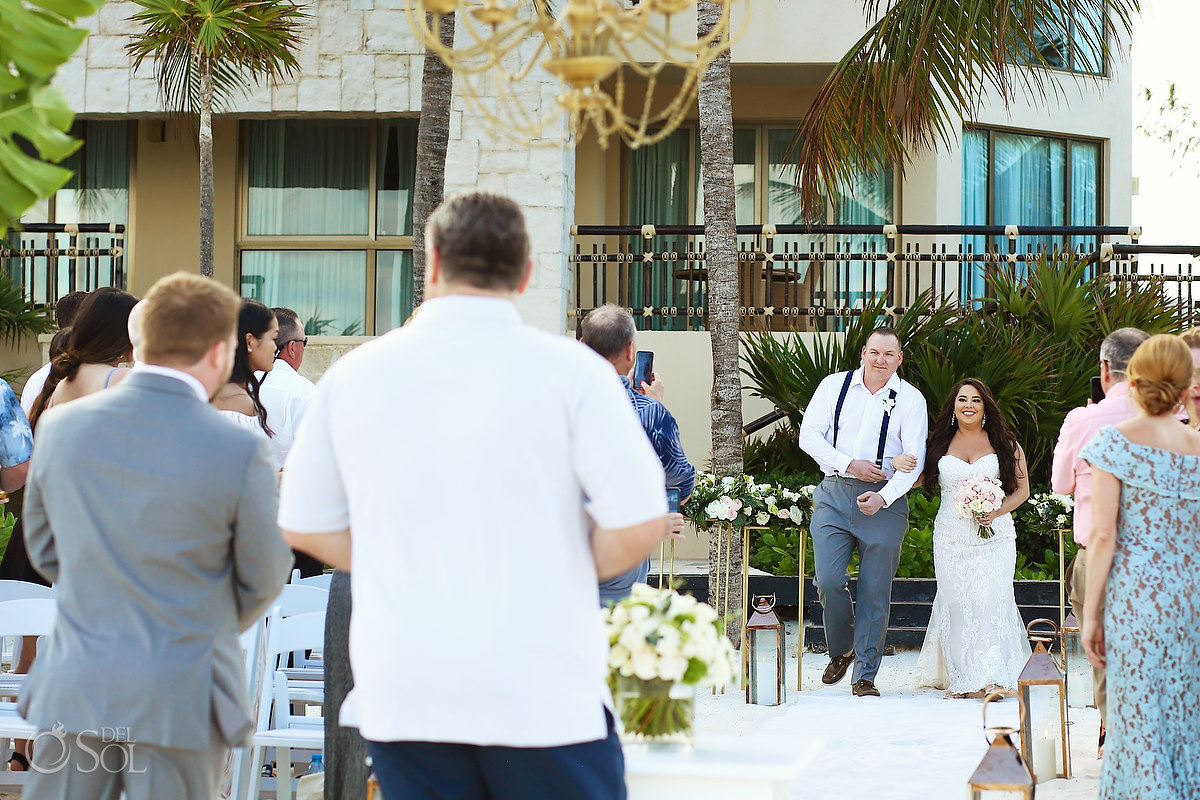 bride entrance Dreams Riviera Cancun Beach Wedding