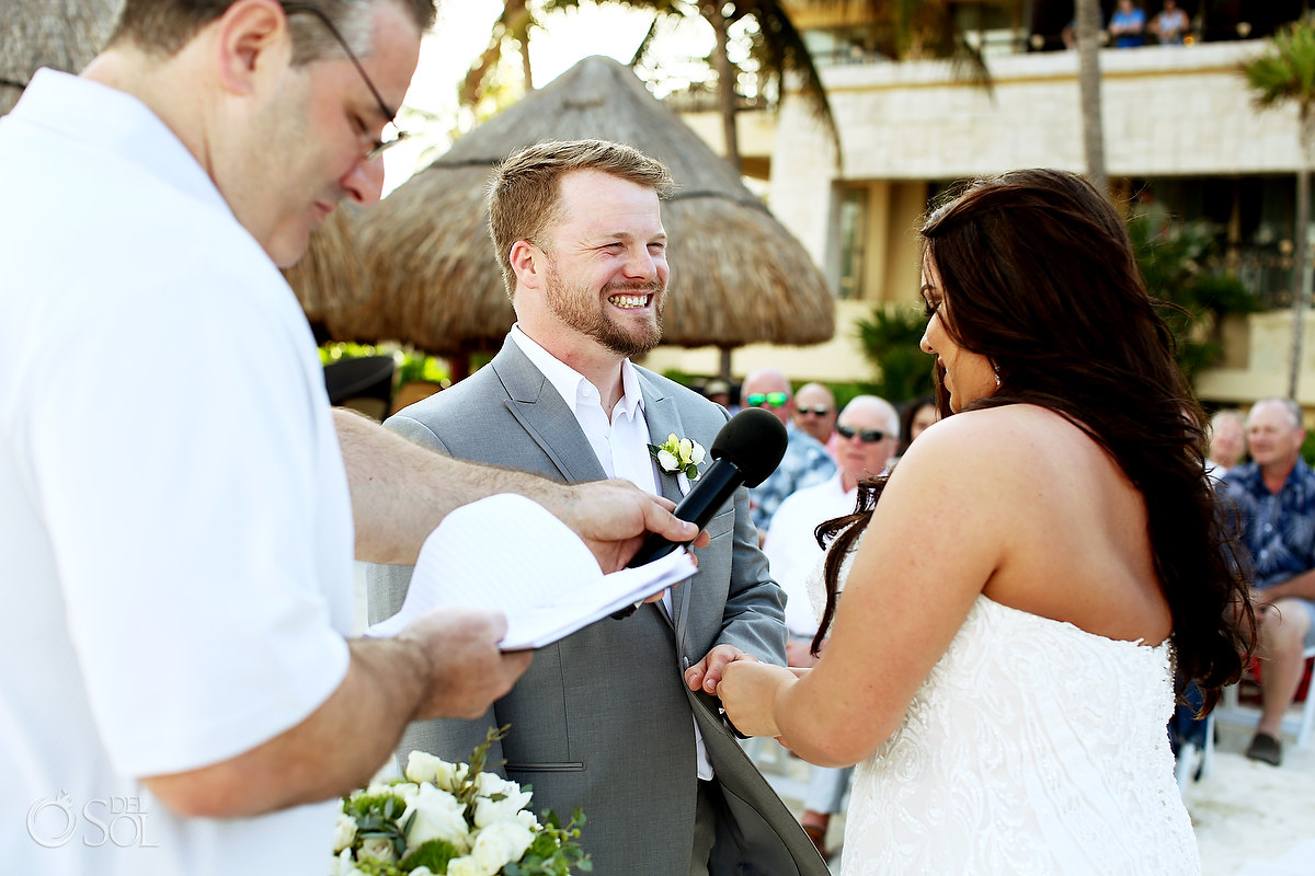 ring exchange Dreams Riviera Cancun Beach Wedding