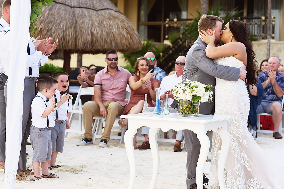 first kiss Dreams Riviera Cancun Beach Wedding