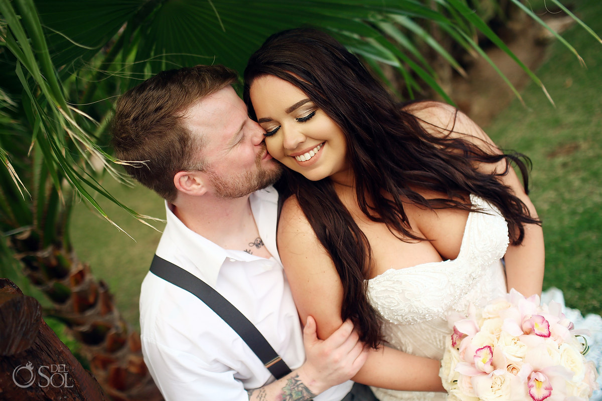 Dreams Riviera Cancun Wedding Photographer couple portrait tattooed groom