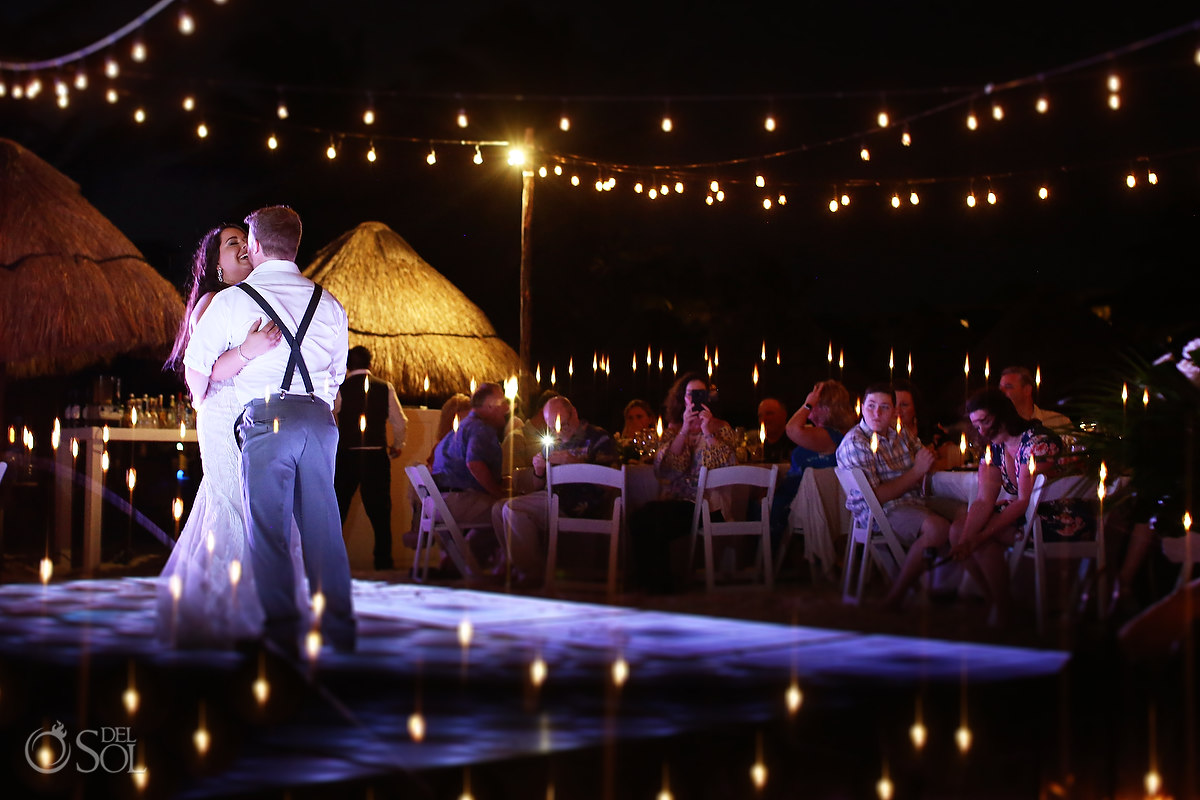 first dance Dreams Riviera Cancun Beach Wedding reception