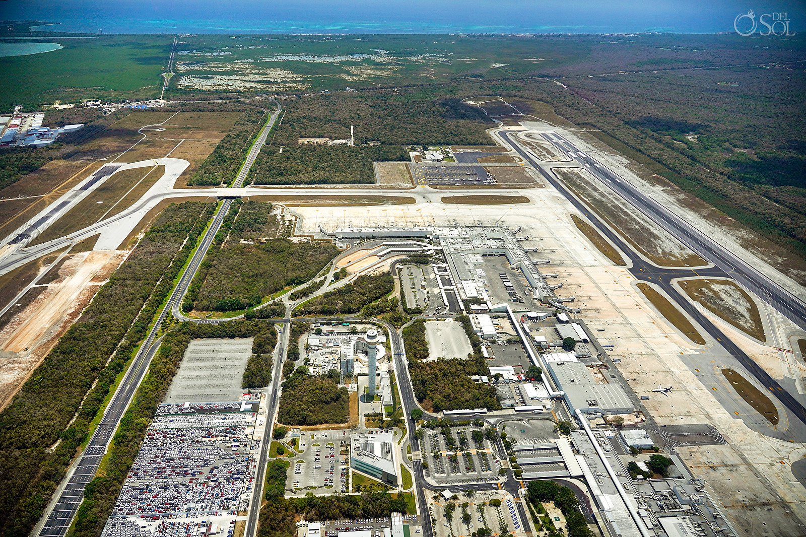 Cancun area aerial photography an the Cancun International Airport without planes
