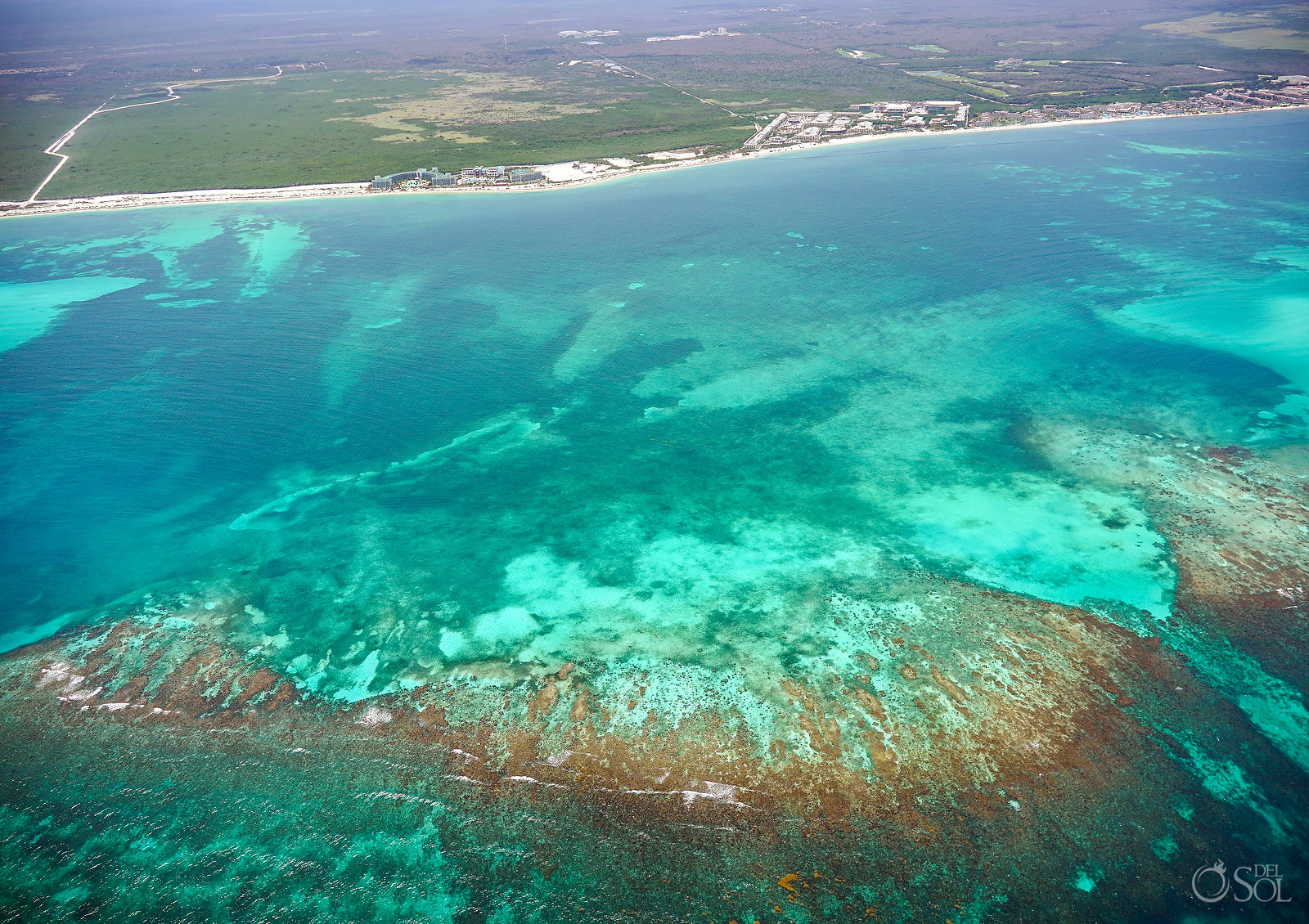 Mesoamerica reef Cancun area aerial photography tour