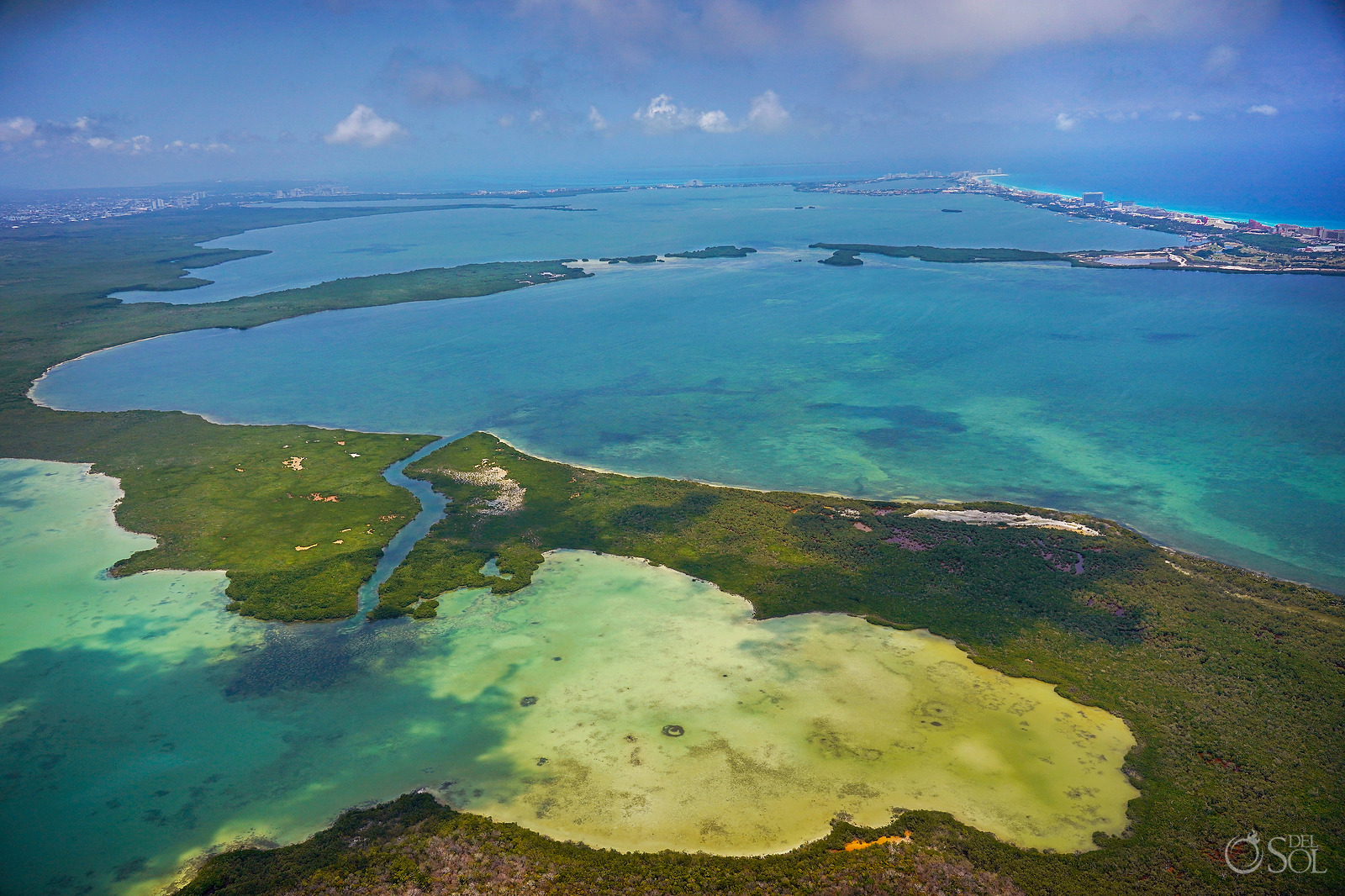 Cancun area aerial photography tour Nichupte Lagoon