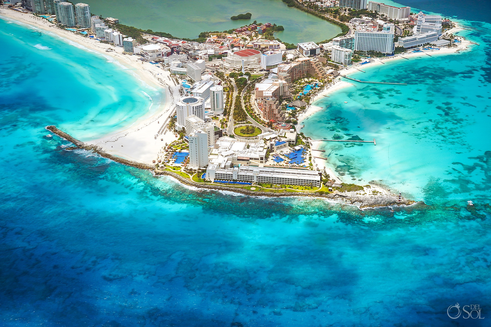 Cancun area aerial photography without tourists