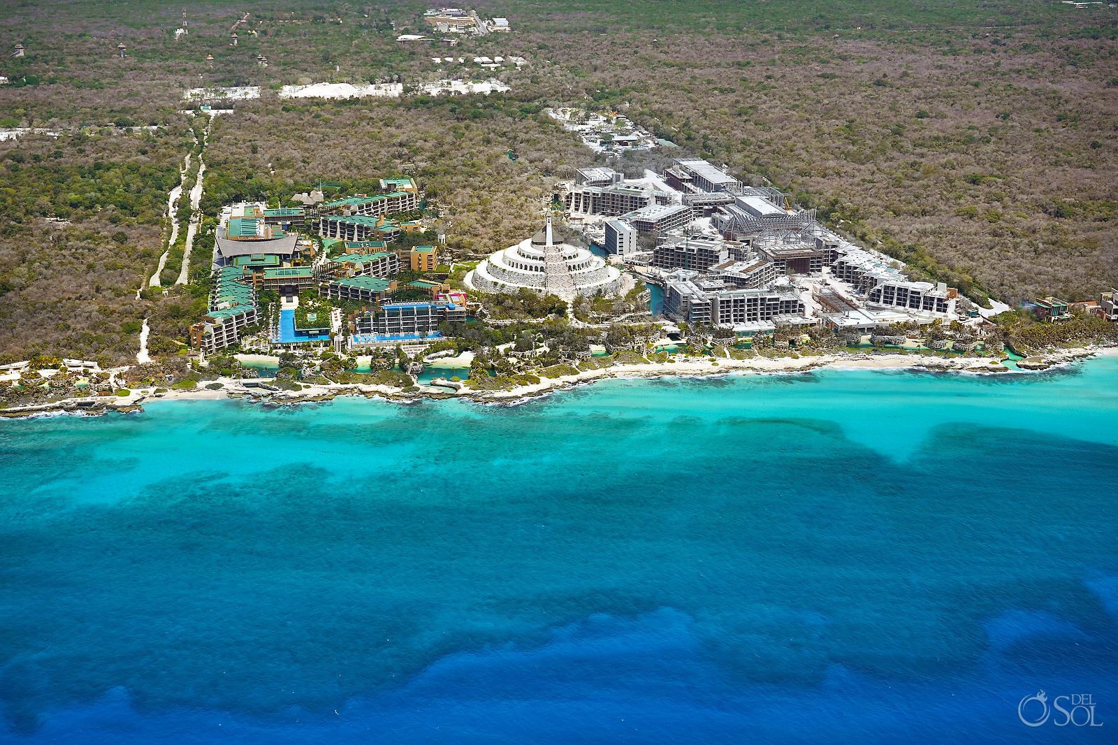 Hotel Xcaret Mexico Cancun area aerial photography tour