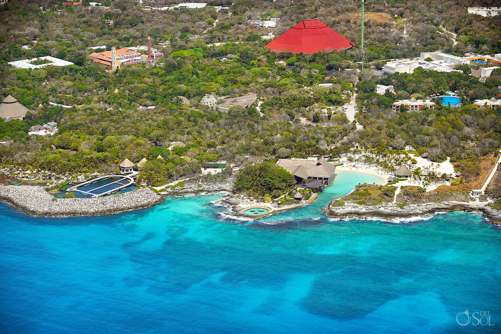 Aerial Photograph Xcaret Park without tourists during April 2020 quarantine