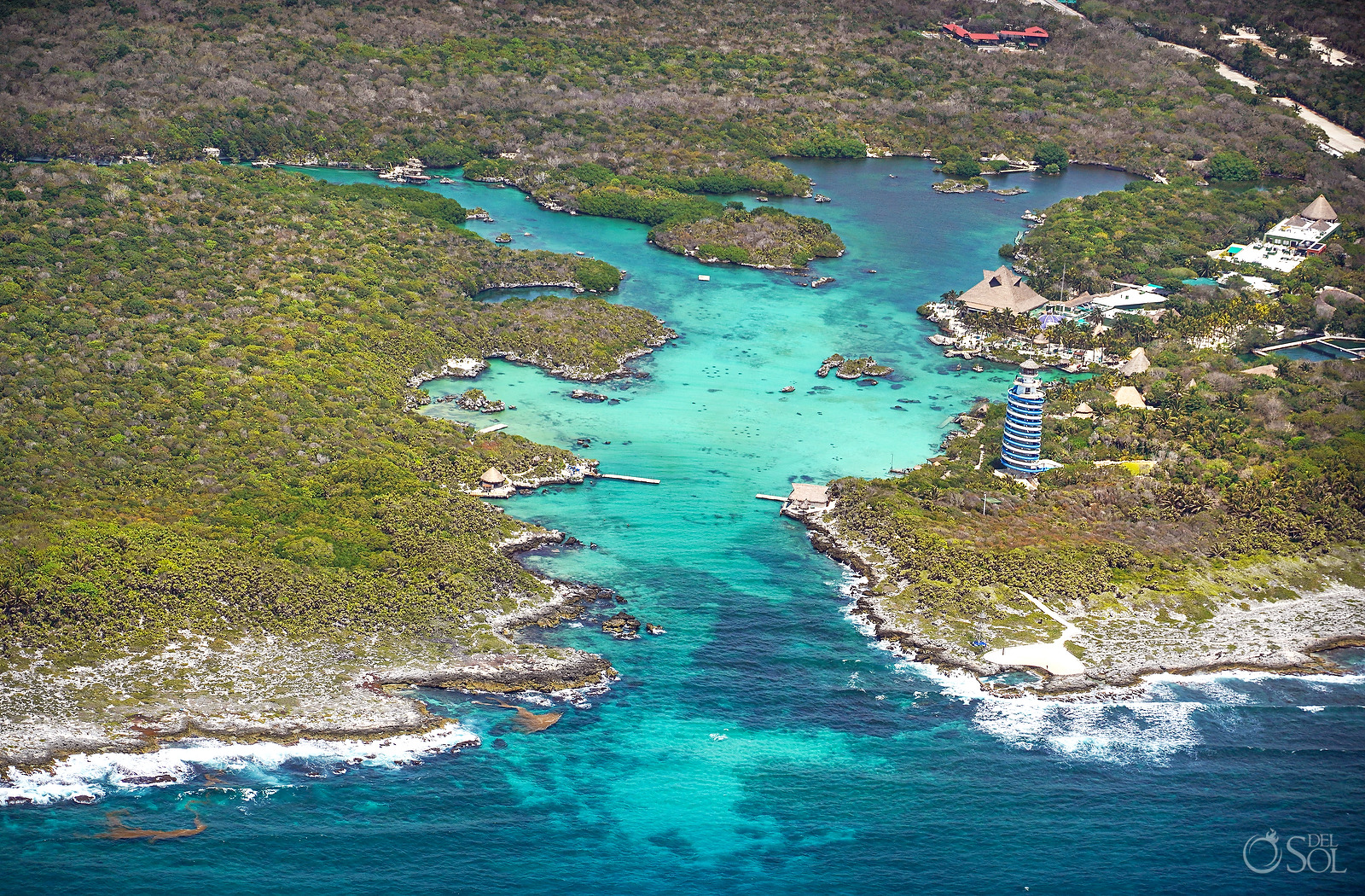 Aerial Photograph Xel Ha Park without tourists during April 2020 quarantine