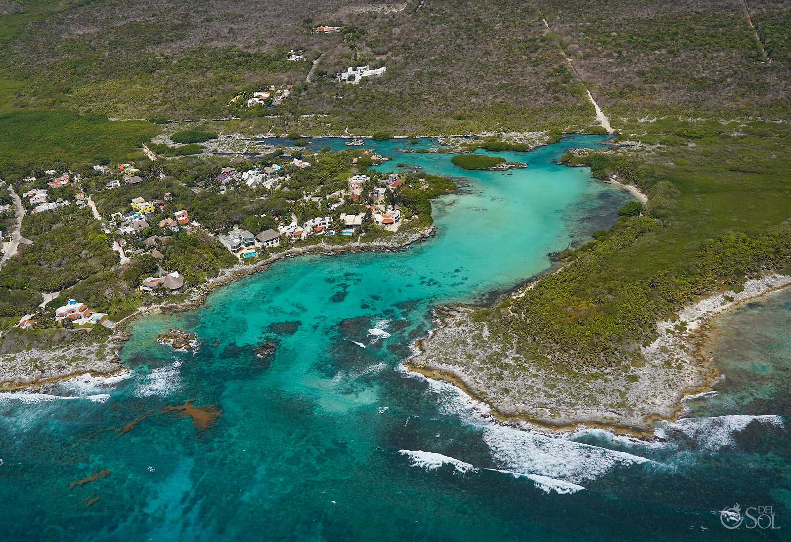 Aerial Photograph Yal Ku Lagoon in Akumal without tourists during April 2020 quarantine