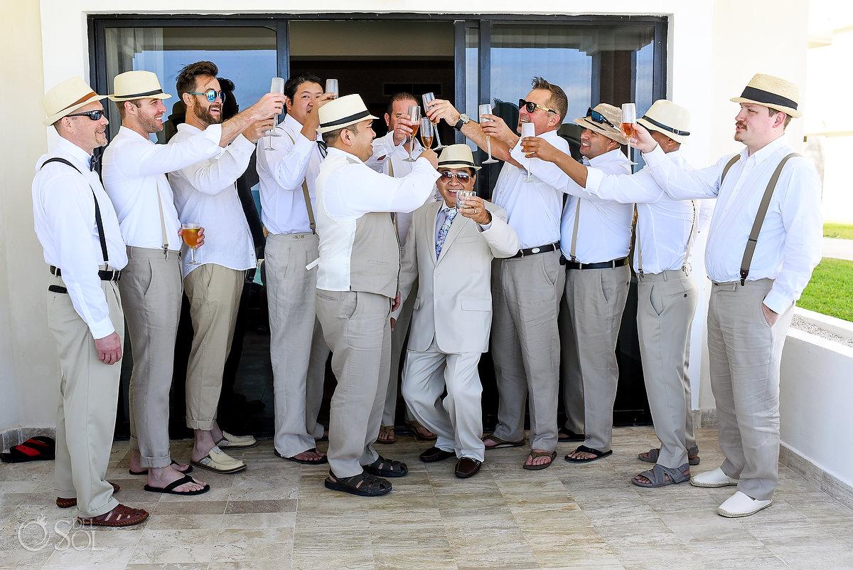 big bridal party groomsmen cheers photo beige linen suits