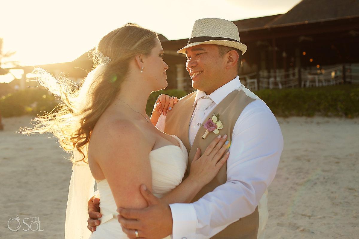 sunset wedding portrait golden hour Now Sapphire Riviera Maya mexico