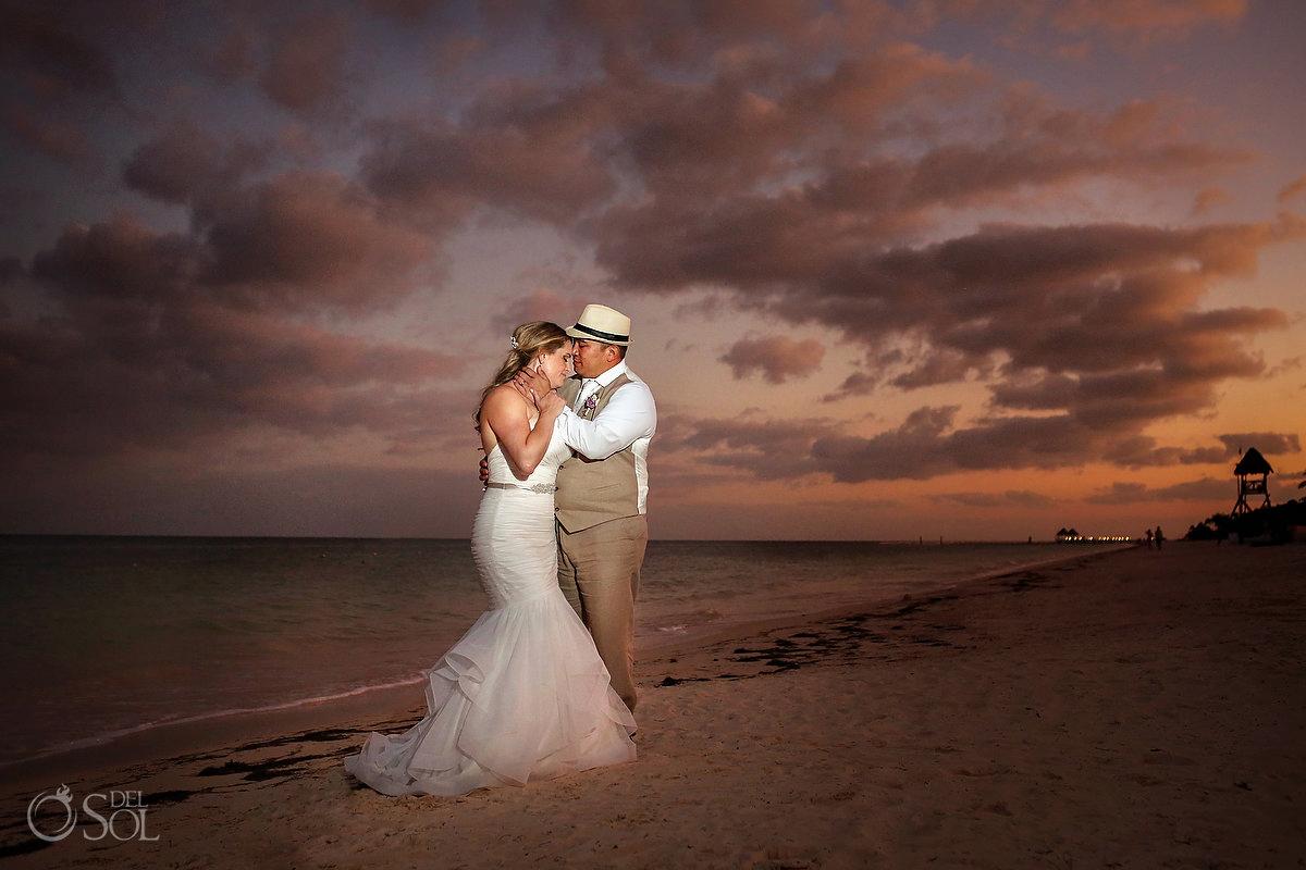 Del Sol Travels Now Sapphire Wedding Sunset Portrait Cancun Mexico