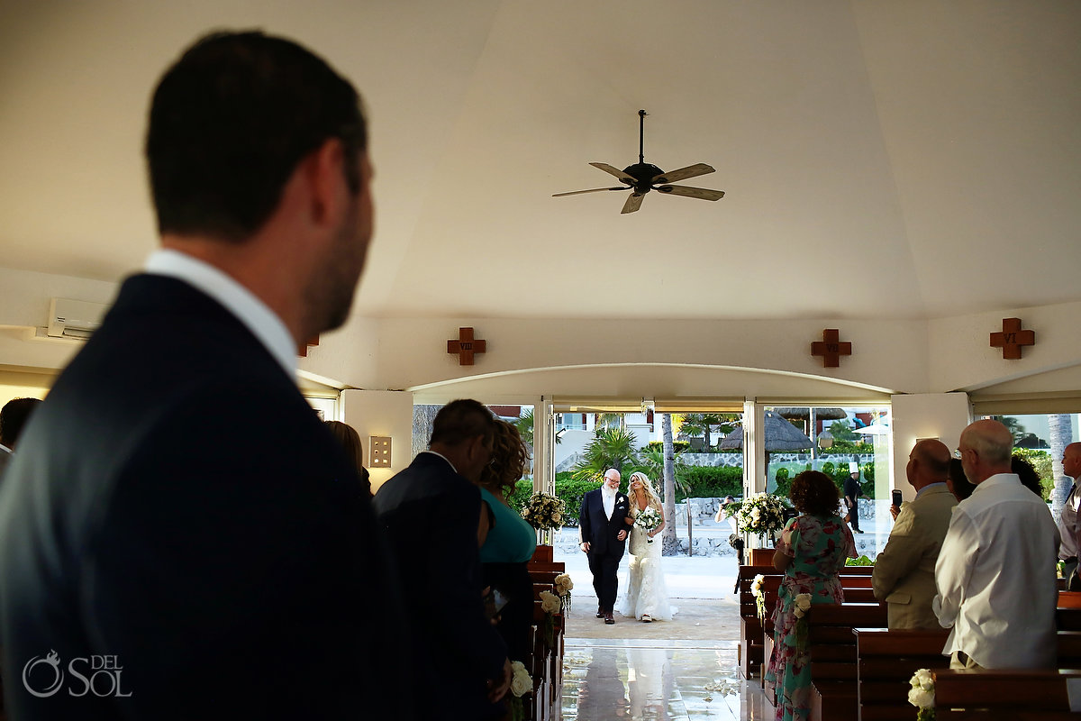 bride entrance Hard Rock Catholic Wedding Riviera Maya San Charbel Chapel