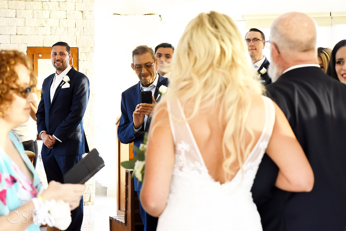 first look Hard Rock Catholic Wedding Riviera Maya San Charbel Chapel