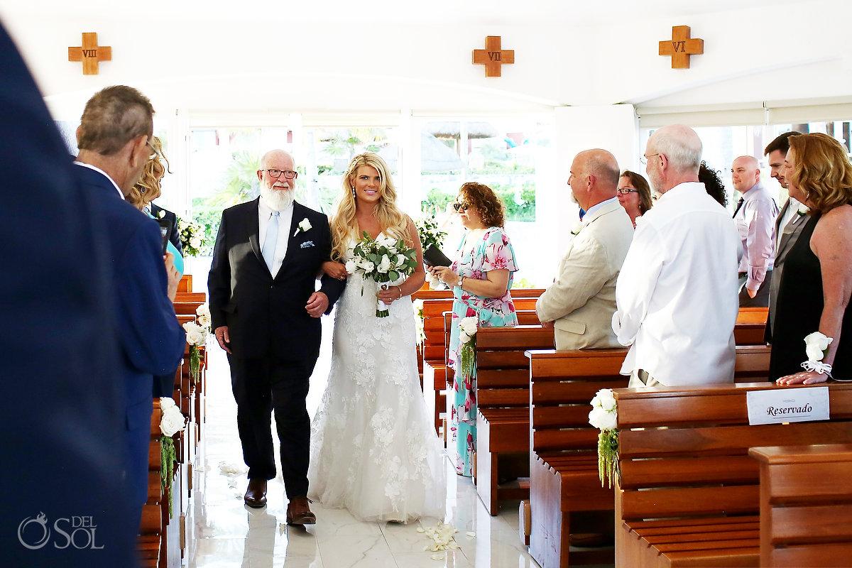bride entrance Hard Rock Catholic Wedding Riviera Maya San Charbel Chapel