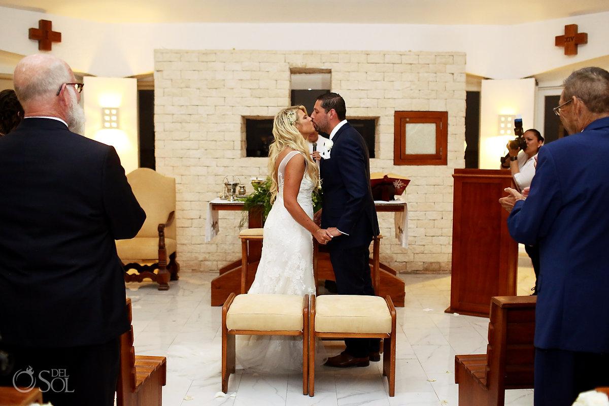 first kiss Hard Rock Catholic Wedding San Charbel Chapel