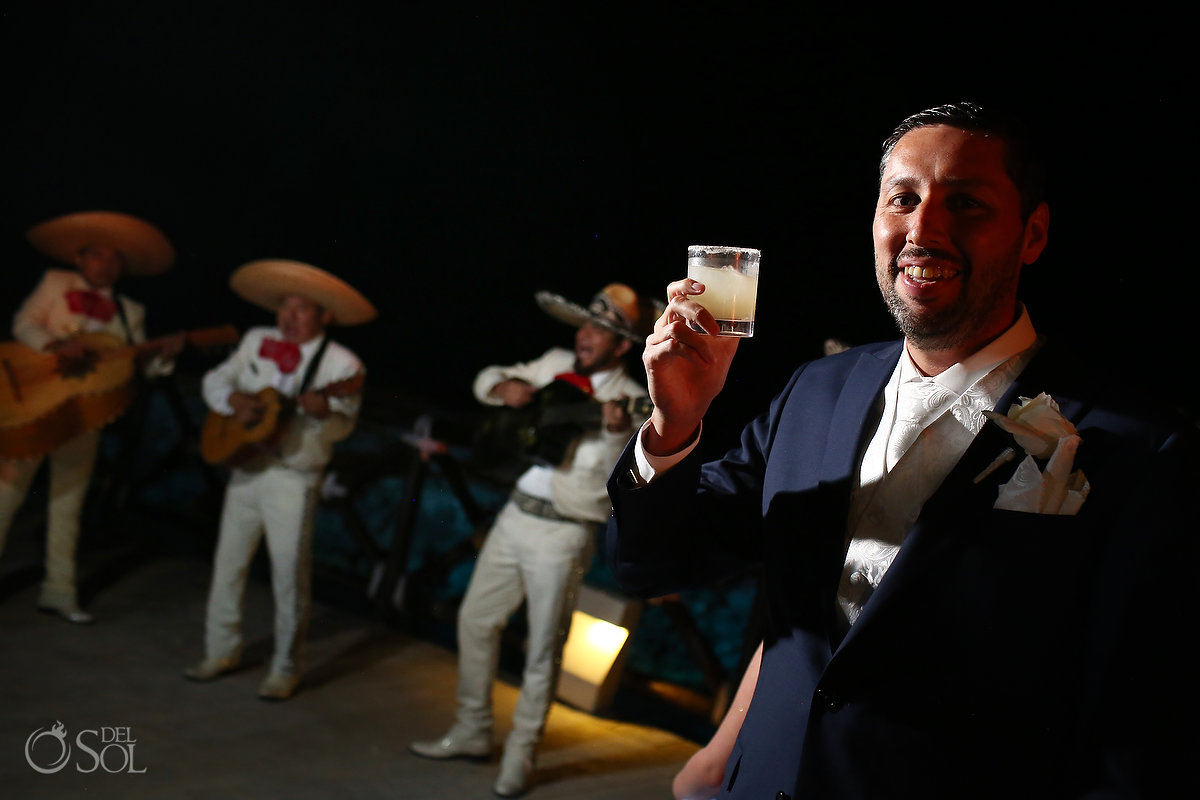 groom and mariachi Ocean Terrace Hard Rock Riviera Maya