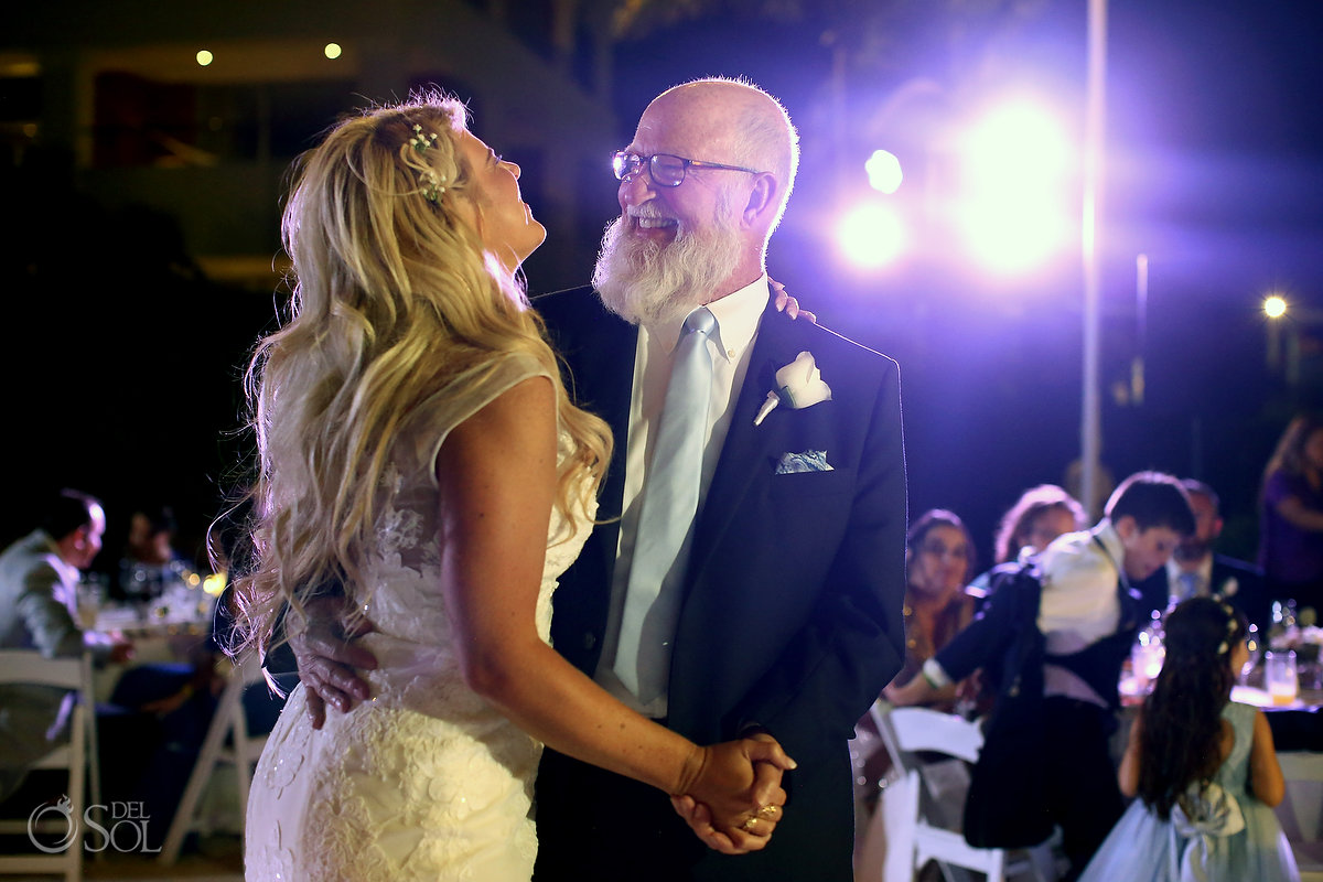 father daughter dance wedding reception Ocean Terrace Hard Rock Riviera Maya